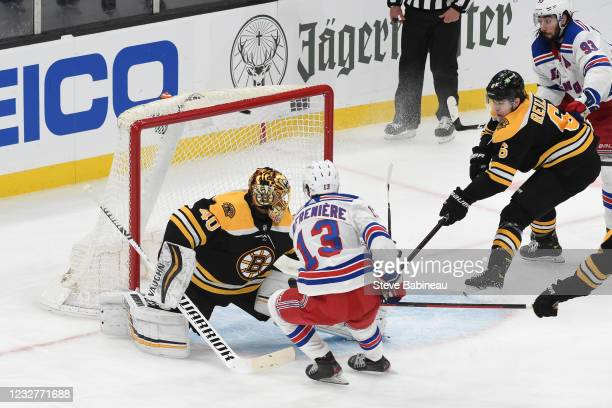 Alexis Lafreniere of the New York Rangers scores in the third period against the Boston Bruins at the TD Garden on May 8, 2021 in Boston,...