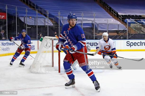 Alexis Lafreniere of the New York Rangers skates against the New York Islanders at Madison Square Garden on January 16, 2021 in New York City. The...