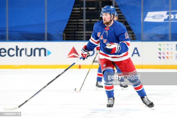 Alexis Lafreniere of the New York Rangers skates against the New York Islanders at Madison Square Garden on January 16, 2021 in New York City.