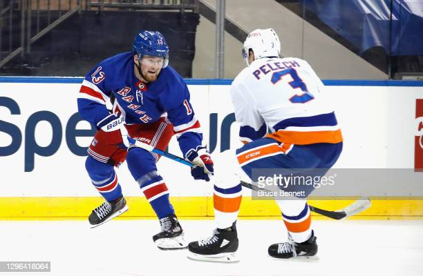 Alexis Lafreniere of the New York Rangers skates in his first NHL game against the New York Islanders at Madison Square Garden on January 14, 2021 in...