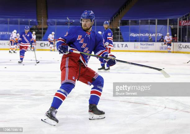 Alexis Lafreniere of the New York Rangers skates in warm-ups prior to the game against the New York Islanders at Madison Square Garden on January 16,...