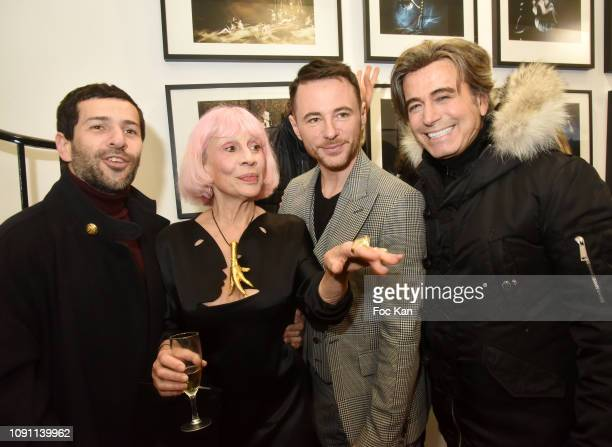 Alexis Mabille Marie Beltrami Frederic Fontan from galerie Alfalibra and Alexandre Zouari attend the Dada Girl Marie Beltrami Exhibition Preview at...