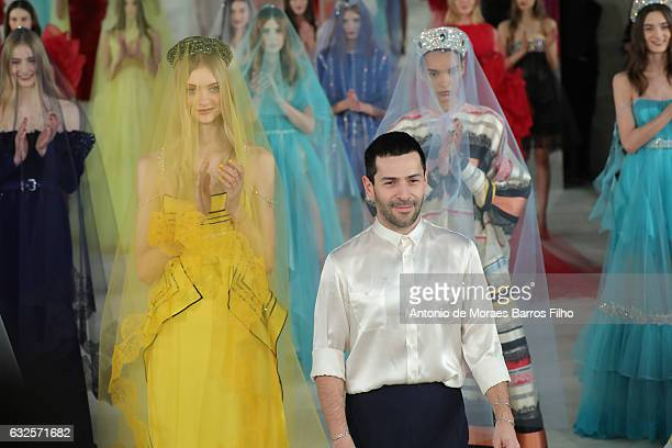 Alexis Mabille walks the runway during the Alexis Mabille Haute Couture Spring Summer 2017 show as part of Paris Fashion Week on January 24 2017 in...