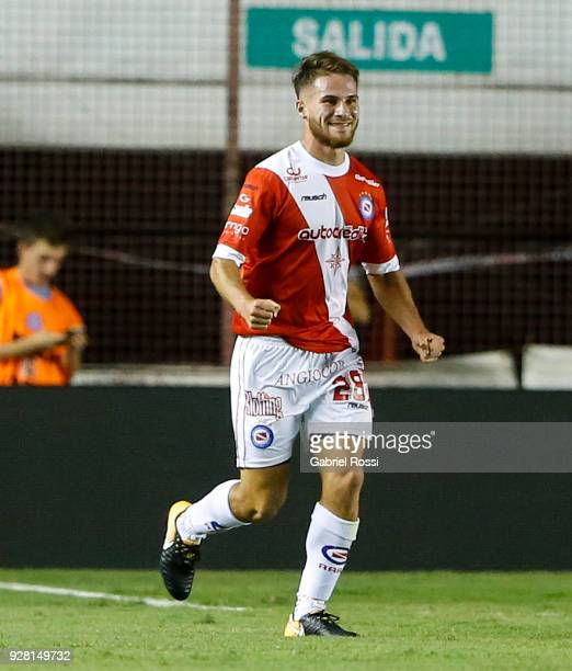 Alexis Mac Allister of Argentinos Juniors celebrates after scoring the first goal of his team during a match between Argentinos Juniors and Boca...