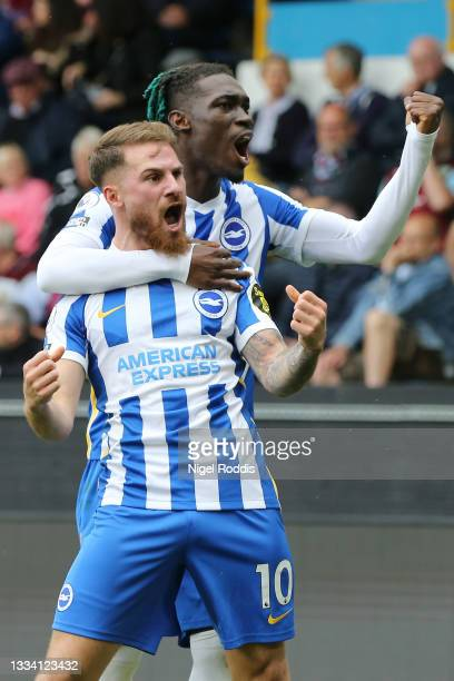 Alexis Mac Allister of Brighton and Hove Albion celebrates with teammate Yves Bissouma after scoring their side's second goal during the Premier...