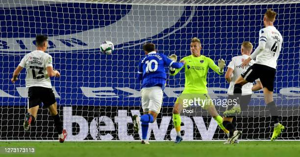 Alexis Mac Allister of Brighton and Hove Albion scores his sides first goal during the Carabao Cup second round match between Brighton And Hove...
