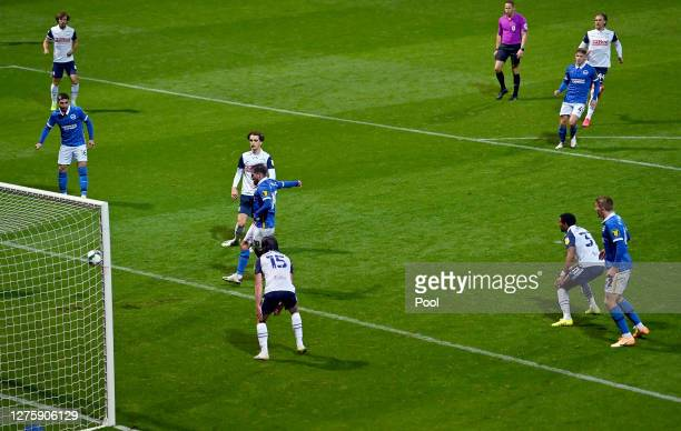 Alexis Mac Allister of Brighton and Hove Albion scores his sides second goal during the Carabao Cup third round match between Preston North End and...