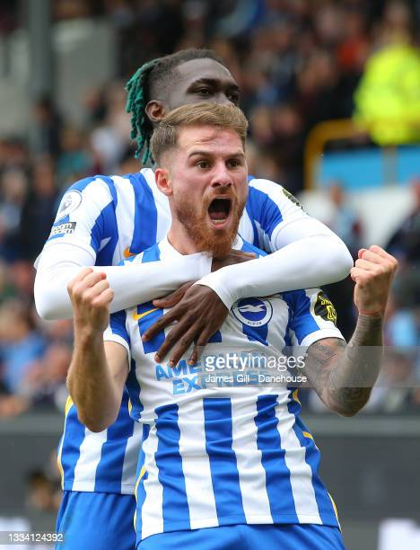 Alexis Mac Allister of Brighton & Hove Albion celebrates with Yves Bissouma after scoring their second goal during the Premier League match between...
