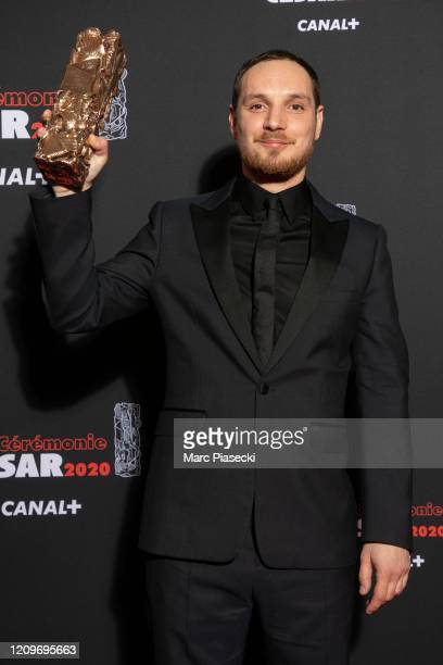 Alexis Manenti poses with the Best Newcomer award for the movie 'Les Miserables' during the Cesar Film Awards 2020 Ceremony At Salle Pleyel In Paris...