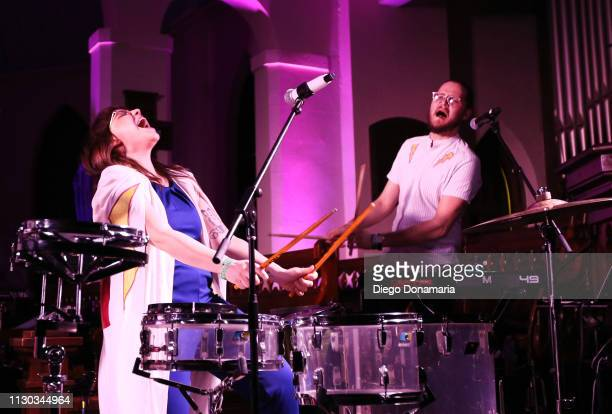 Alexis Marceaux and Skyler Stroup of Sweet Crude perform onstage at Verve Music Group during the 2019 SXSW Conference and Festivals at Bethel Hall at...