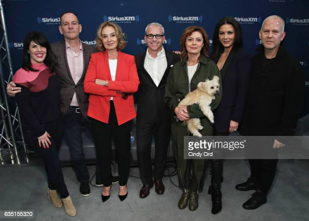Alexis Martin Tim Minear Jessica Lange Susan Sarandon Catherine ZetaJones and Ryan Murphy pose for a photo with host Jess Cagle during SiriusXM's...