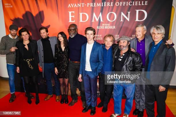 Alexis Michalik Lucie Boujenah JeanMichel Martial Thomas Soliveres Dominique Pinon Patrick Timsit during the 'Edmond' Paris Premiere photocall at...