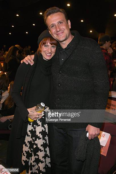 Alexis Mixter and actor Jason Segel attend the 'The Discovery' premiere during day 2 of the 2017 Sundance Film Festival at Eccles Center Theatre on...