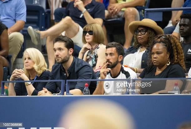 Alexis Ohanian, Anna Wintour and Oracene Price at Day 11 of the US Open held at the USTA Tennis Center on September 6, 2018 in New York City.