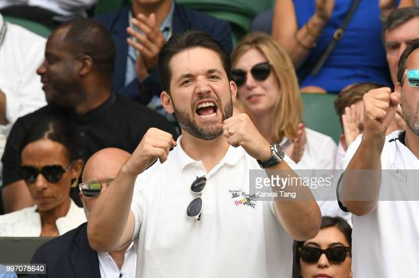 Alexis Ohanian attends day ten of the Wimbledon Tennis Championships at the All England Lawn Tennis and Croquet Club on July 12 2018 in London England