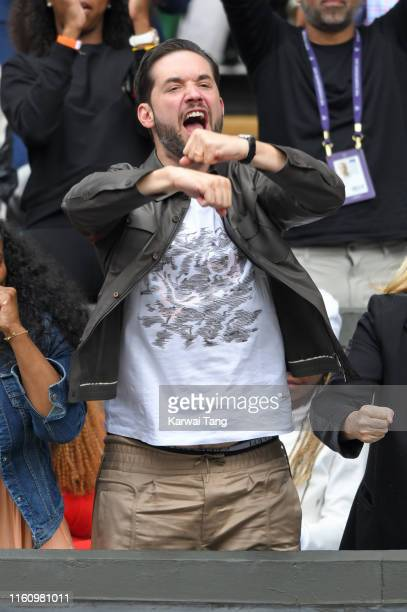 Alexis Ohanian celebrates on Centre court during day eight of the Wimbledon Tennis Championships at All England Lawn Tennis and Croquet Club on July...