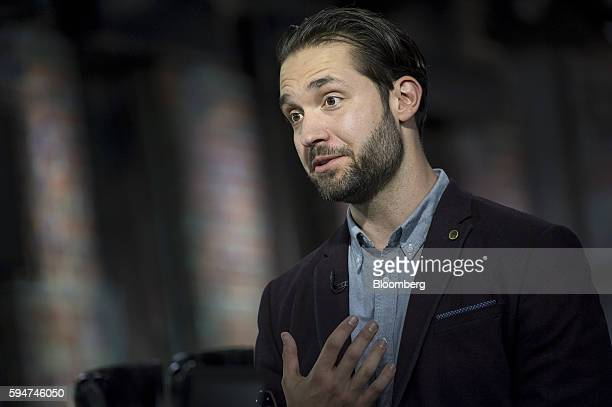 Alexis Ohanian chairman and cofounder of Reddit Inc speaks during a Bloomberg West television interview in San Francisco California US on Tuesday Aug...