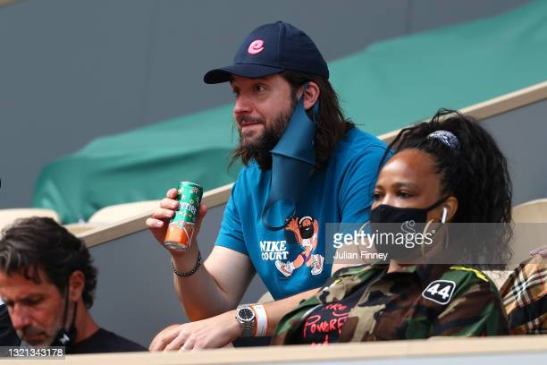 Alexis Ohanian, entrepreneur and husband of Serena Williams watches on during her women's second round match during day four of the 2021 French Open...