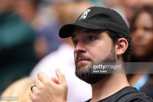 Alexis Ohanian, husband of Serena Williams of the United States looks on following her Women's Singles first round match against Anastasia Potapova...