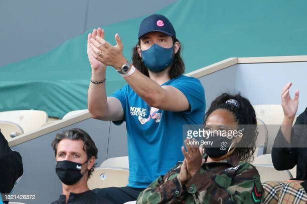 Alexis Ohanian, husband of Serena Williams of USA during day 4 of Roland-Garros 2021, French Open, a Grand Slam tennis tournament at Roland Garros...