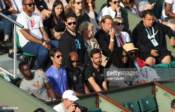 Alexis Ohanian husband of Serena Williams of USA Jill Smoller her agent below Patrick Mouratoglou her coach Isha Price her sister Oracene Price her...