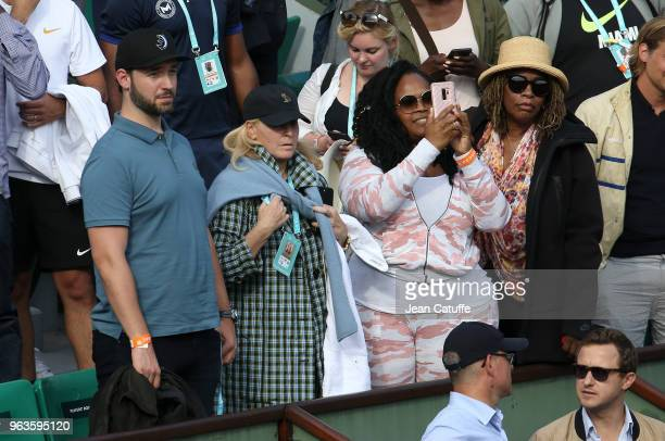Alexis Ohanian husband of Serena Williams of USA Jill Smoller Serena's agent Isha Price sister of Serena Oracene Price mother of Serena following her...