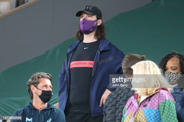 Alexis Ohanian, husband of Serena Williams wearing the Nike t-shirt with the slogan of Serena: 'Je ne m'arreterai jamais' meaning 'I'll never stop',...