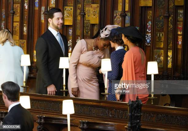 Alexis Ohanian Serena Williams Abigail Leigh Spencer and a guest take their seats in St George's Chapel at Windsor Castle before the wedding of...