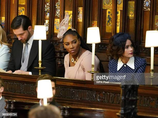 Alexis Ohanian Serena Williams and Abigail Leigh Spencer take their seats in St George's Chapel at Windsor Castle before the wedding of Prince Harry...