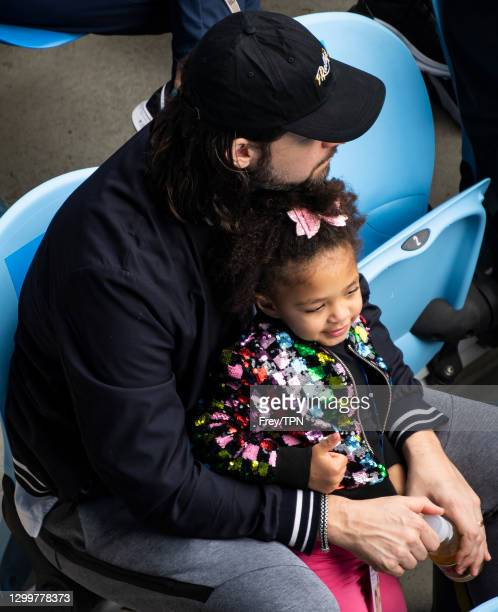 Alexis Olympia, daughter of Alexis Ohanian and Serena Williams of the United States watches her mother's match against Daria Gavrilova of Australia,...