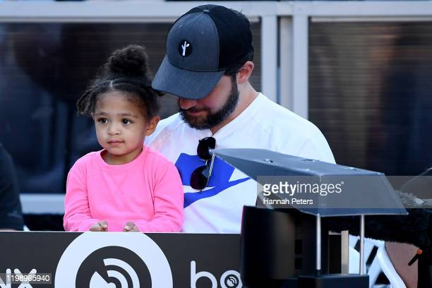Alexis Olympia, daughter of Serena Williams and husband Alexis Ohanian look on during final match between Serena Williams of USA and Jessica Pegula...