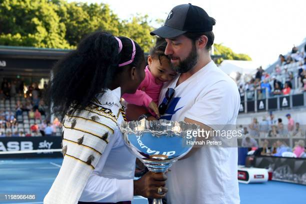 Alexis Olympia, daughter of Serena Williams and husband Alexis Ohanian congratulate Serena Williams after she won her final match against Jessica...