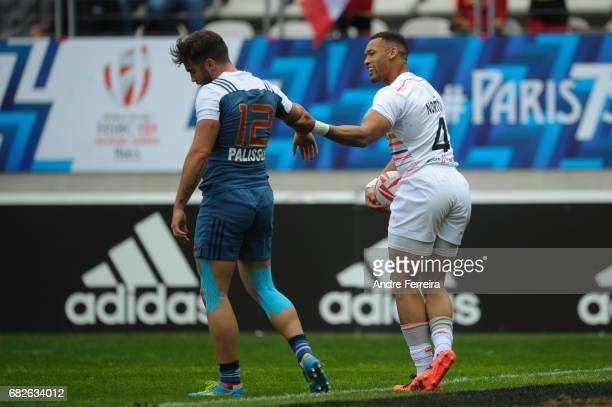 Alexis Palisson of France and Dan Norton of England celebrates his try during the match between England and France at the HSBC Paris Sevens stage of...