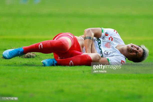 Alexis Pena of Necaxa laments during the 9th round match between Monterrey and Necaxa as part of the Torneo Apertura 2019 Liga MX at BBVA Stadium on...