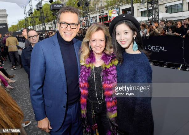 Alexis Perakis Valat Caroline Scheufele and a guest attend Le Defile L'Oreal Paris as part of Paris Fashion Week Womenswear Spring/Summer 2018 at...