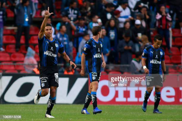 Alexis Perez of Queretaro celebrates making his teams first gol during a 15th round match between Queretaro and Santos Laguna as part of Torneo...