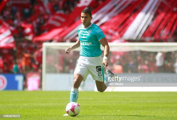 Alexis Perez of Queretaro controls the ball during a 14th round match between during the 14th round match between Toluca and Queretaro as part of the...
