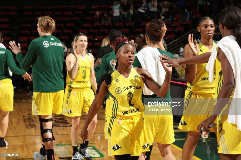 Alexis Peterson #2 of the Seattle Storm celebrates during a game against the Phoenix Mercury on May 3, 2017 at Key Arena in Seattle, Washington.