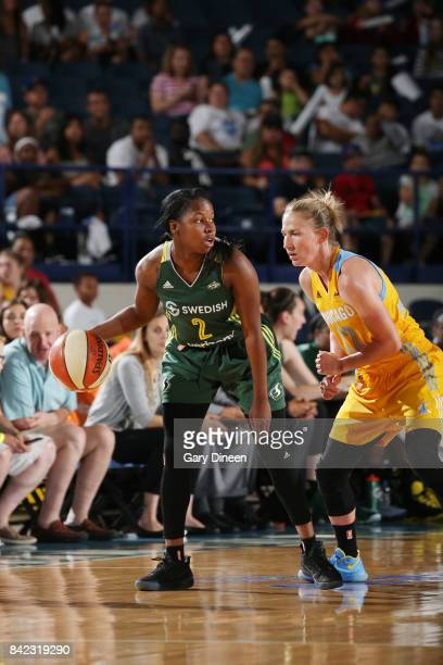 Alexis Peterson of the Seattle Storm handles the ball against the Chicago Sky on September 3 2017 at Allstate Arena in Rosemont IL NOTE TO USER User...