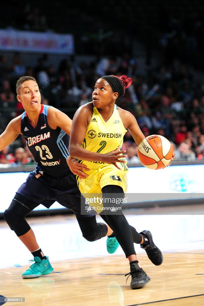 Alexis Peterson #2 of the Seattle Storm handles the ball during the game against the Atlanta Dream during a WNBA game on August 23, 2017 at Hank McCamish Pavilion in Atlanta, Georgia.
