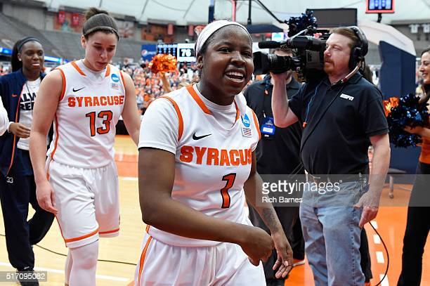Alexis Peterson of the Syracuse Orange reacts while leaving the court following the game against the Albany Great Danes in the second round of the...