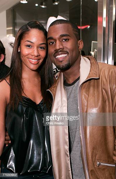 Alexis Pheiffer left and music recording artist Kanye West attend the grand opening of Intermix on September 25 2007 in Los Angeles California