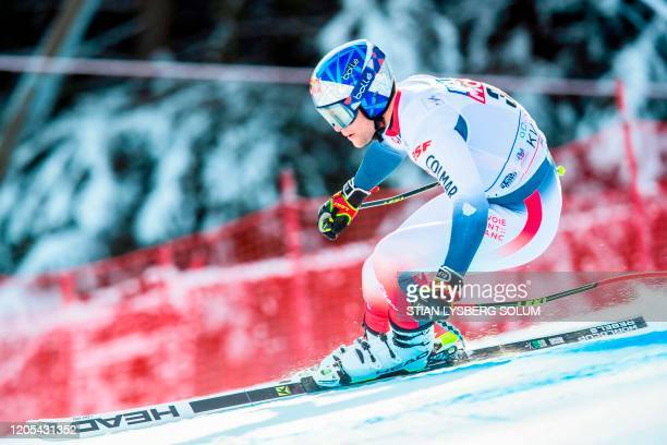 Alexis Pinturault from France competes during a training session of the FIS Alpine Skiing World Cup Men´s Downhill in Kvitfjell Norway on March 6...
