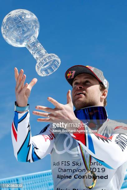 Alexis Pinturault of France celebrates celebrates the Globe alpin combined during the Audi FIS Alpine Ski World Cup Men's and Women's Super G on...