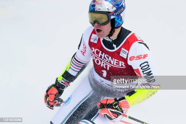 Alexis Pinturault of France celebrates during the Audi FIS Alpine Ski World Cup Men's Giant Slalom on March 20, 2021 in Lenzerheide, Switzerland.