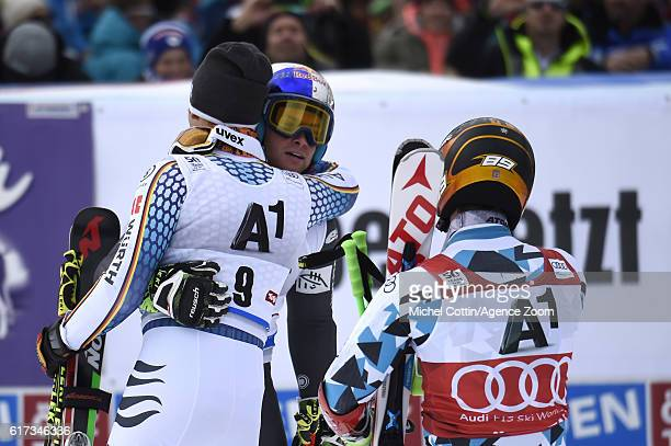 Alexis Pinturault of France celebrates during the Audi FIS Alpine Ski World Cup Men's Giant Slalom on October 23 2016 in Soelden Austria
