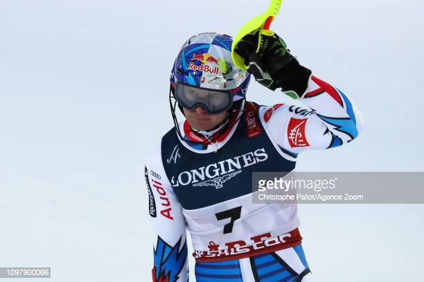 Alexis Pinturault of France celebrates during the FIS World Ski Championships Men's Alpine Combined on February 11 2019 in Are Sweden