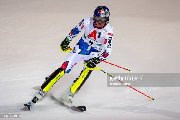 Alexis Pinturault of France competes at Audi FIS Alpine Ski World Cup - Men's Slalom Schladming on January 29, 2019 in SCHLADMING, Austria.