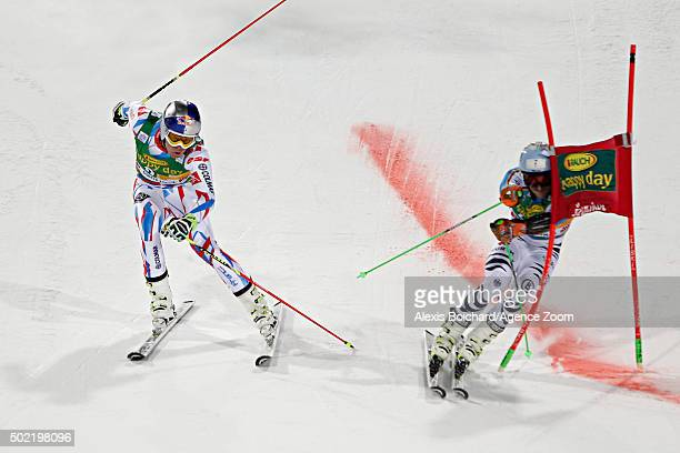 Alexis Pinturault of France competes Dominik Schwaiger of Germany competes during the Audi FIS Alpine Ski World Cup Men's Parallel Giant Slalom on...