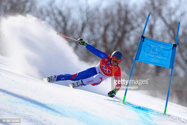Alexis Pinturault of France competes during the Alpine Skiing Men's Giant Slalom on day nine of the PyeongChang 2018 Winter Olympic Games at...